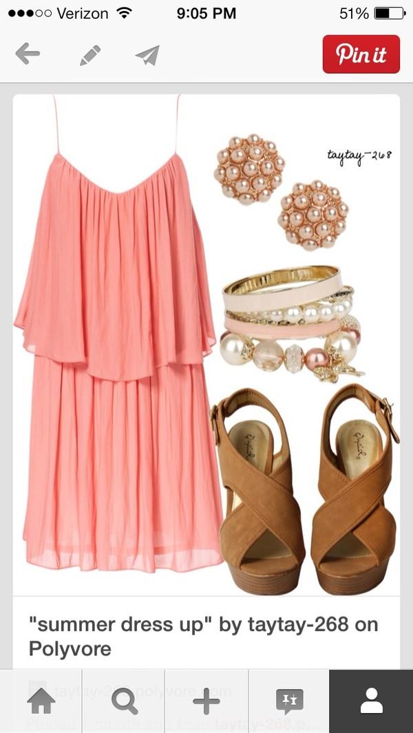 dress cute dress peach dress pastel spring dress summer dress pink dress pink cute