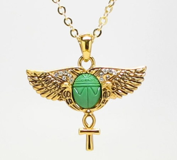 jewels amulet egyptian necklace jewelry scarab gold