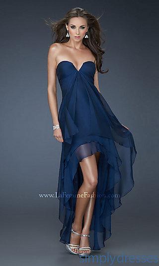 Strapless High-Low Dress, La Femme Prom Dresses - Simply Dresses