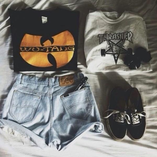 shirt sweater shorts