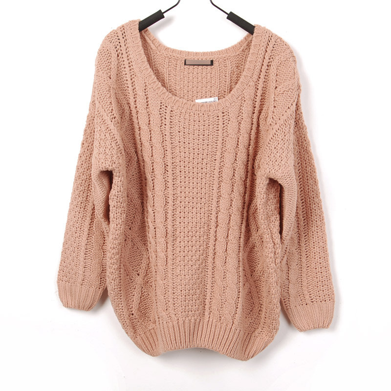 Loose Style Large Round Collar Crochet Knitted Gathered Bottom and Sleeves Sweater on Wanelo