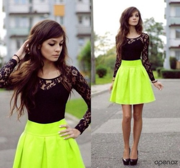 Black lace Tshirt and yellow Skirt