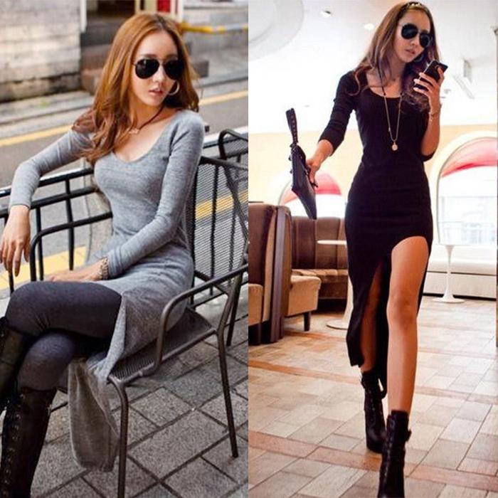 Western Women Sexy High Low Swallow Tail Irregular Hem Crewneck Long Dress Gray | eBay