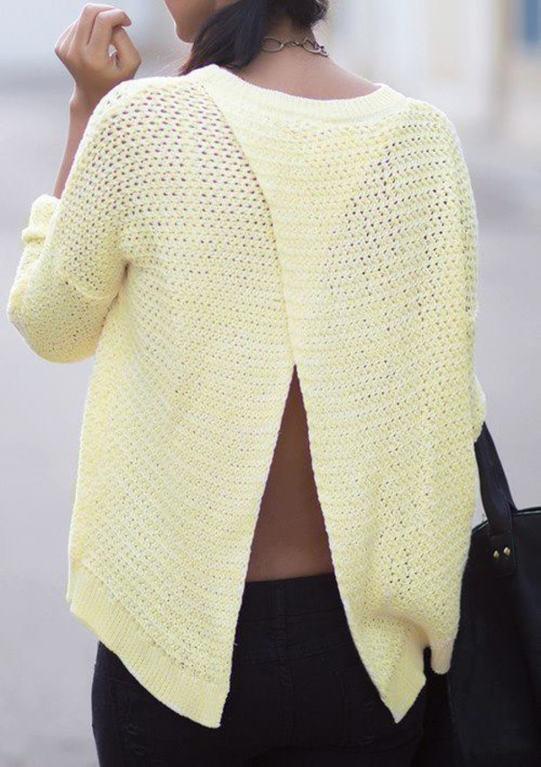 sweater clothes yellow yellow top oversized sweater backless yellow sweater confidence gorgeous beautiful open back open back shirt backless sweater