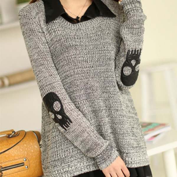 sweater grey skull patch patch