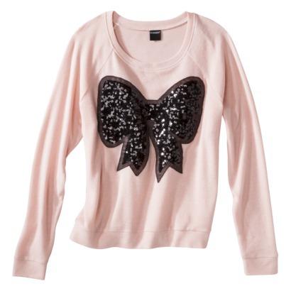Junior's Sequin Bow Sweatshirt - Pale Blush : Target