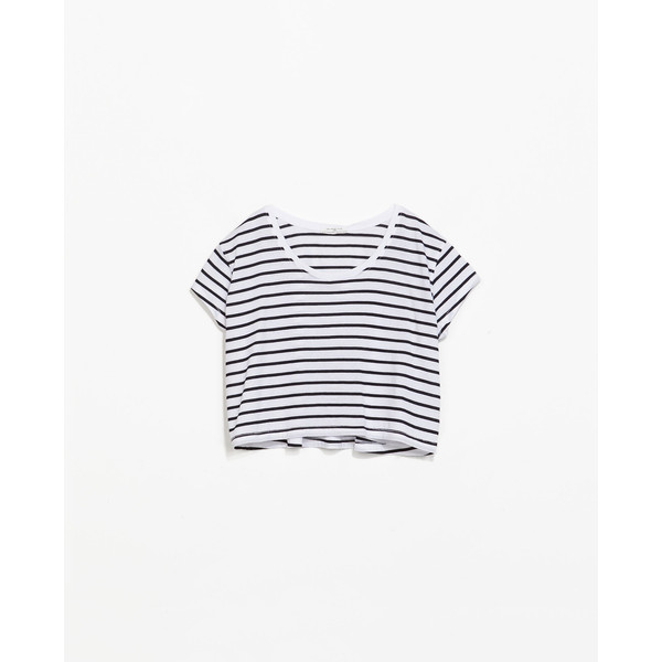 Zara Striped Cropped T-Shirt - Polyvore