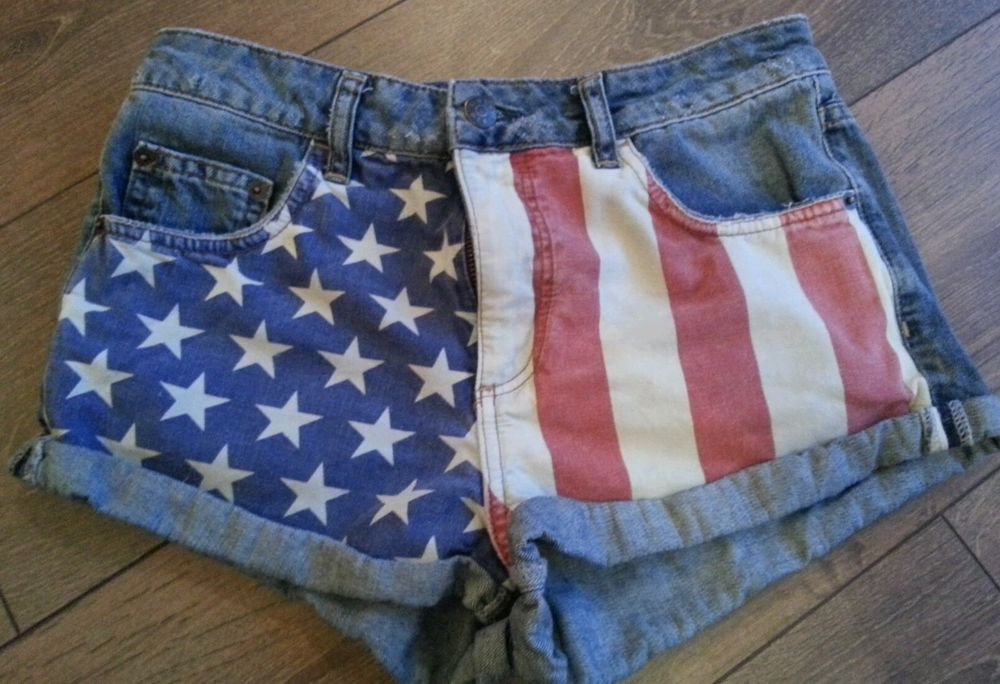 Fabulous sold out Topshop denim hot pants shorts Moto American Flag | eBay