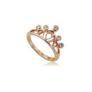 ITALINA RIGANT Fashion Gold Imperial Crown Ring Woman's Rhinestone Jewelry