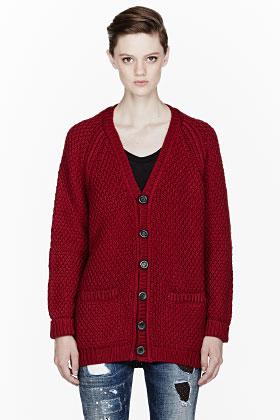 Dsquared2 Burgundy Oversize Knit Wool Cardigan for women | SSENSE