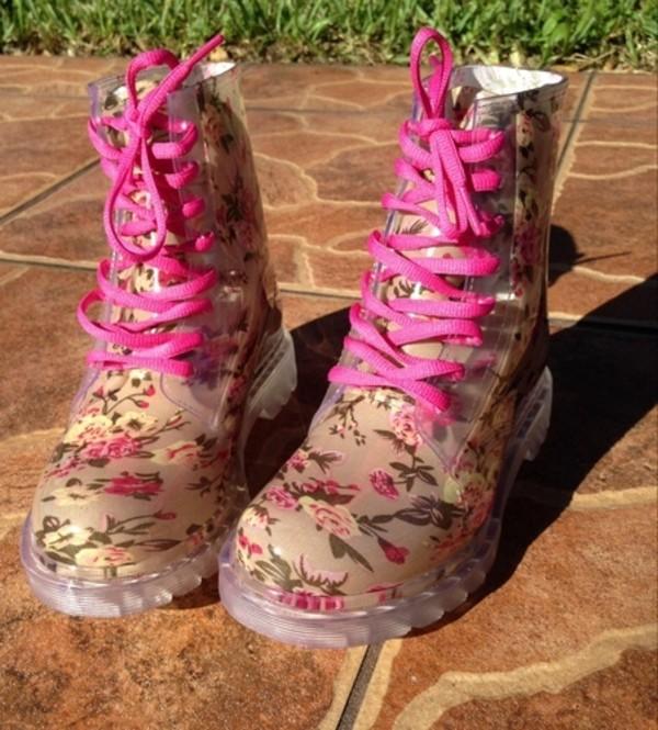 shoes boots floral combat boots