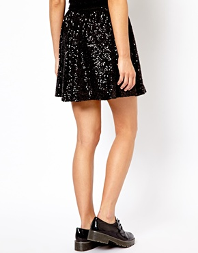 New Look   New Look Sequin Skater Skirt at ASOS