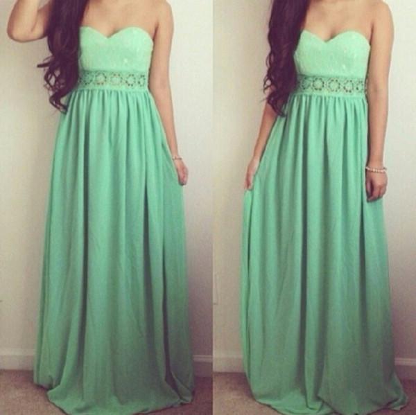 dress maxi dress sweetheart dress mint dress