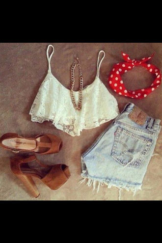 shoes brown sandals wooden heel crop tops lace white gold denim shorts tank top
