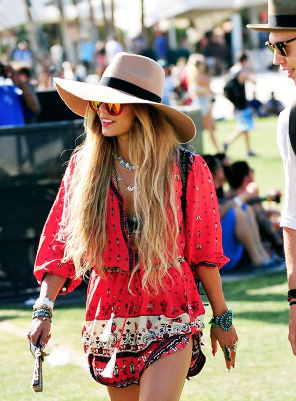 dress festival boho hipster hat astec summer bright bright