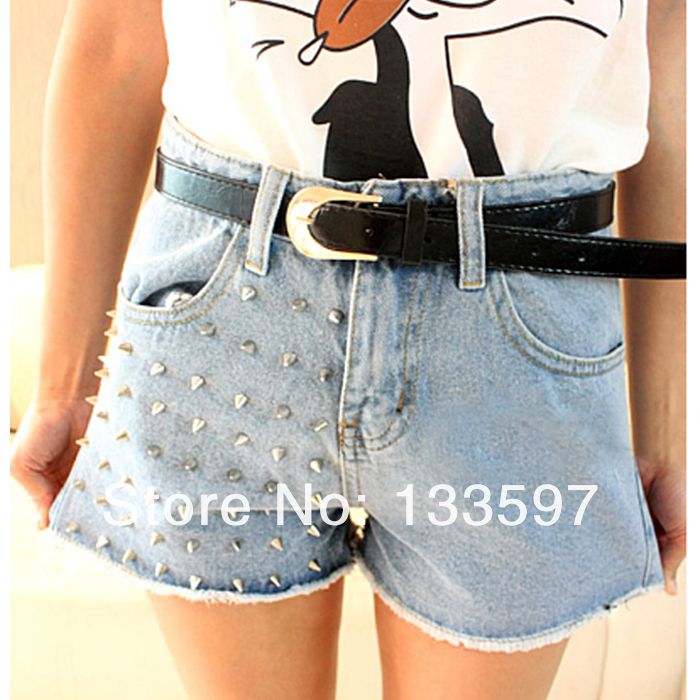 Studded Short Pants Hot Vintage Rivet Womerns Summer Denim Jeans Shorts Sized S M L Blue For Free Shipping-in Shorts from Apparel & Accessories on Aliexpress.com