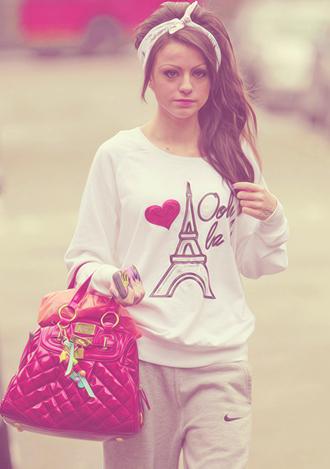 sweater paris italy love white eiffel tower