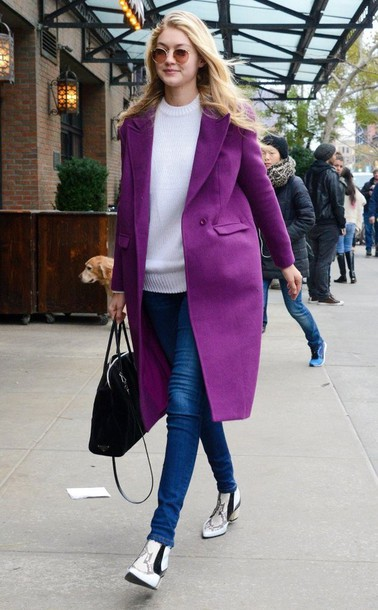 coat gigi hadid fall outfits purple