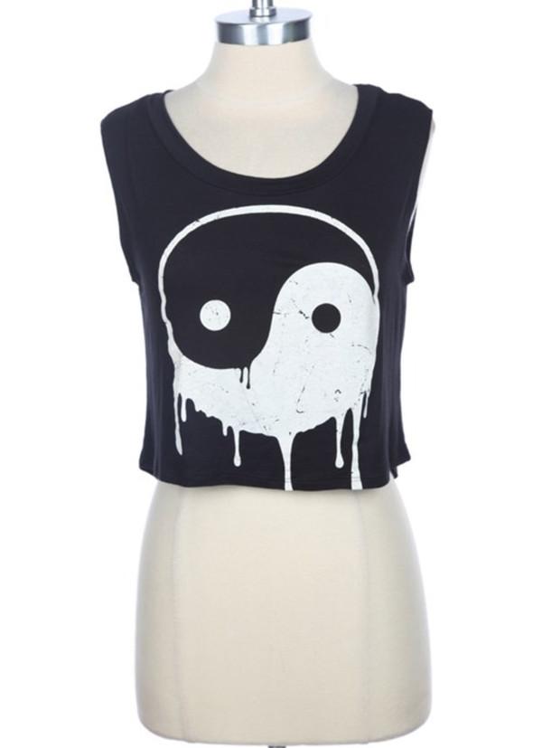 shirt yin yang yin yang shirt crop tops black crop top