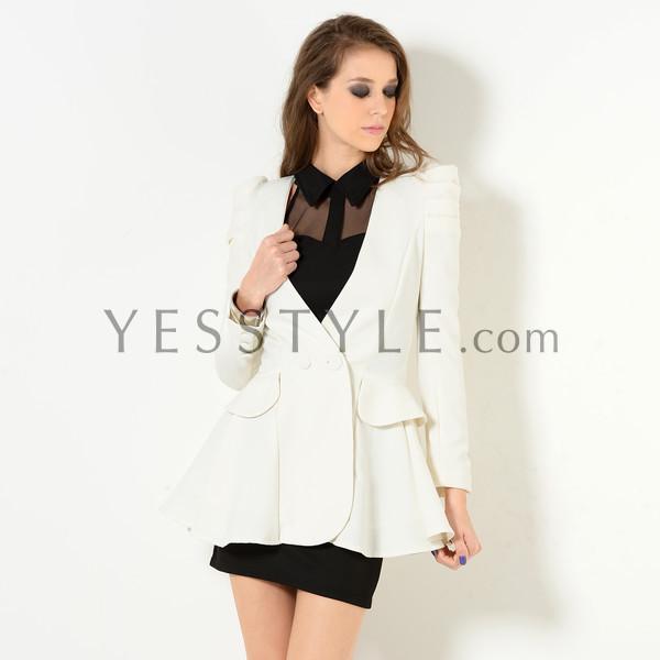 Padded Shoulder Double-Button Blazer - YesStyle Z | YESSTYLE