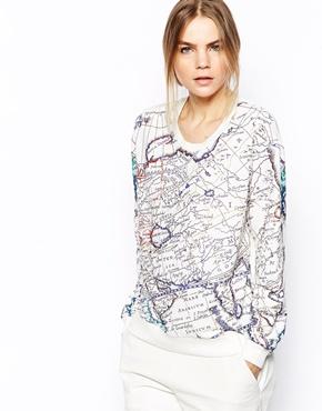 Selected | Selected World Sweatshirt in Map Print at ASOS