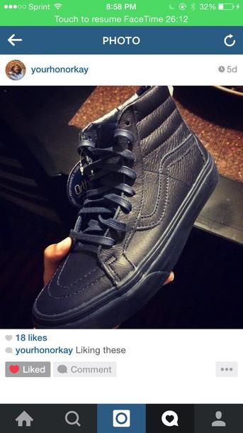 shoes leather navy blue vans