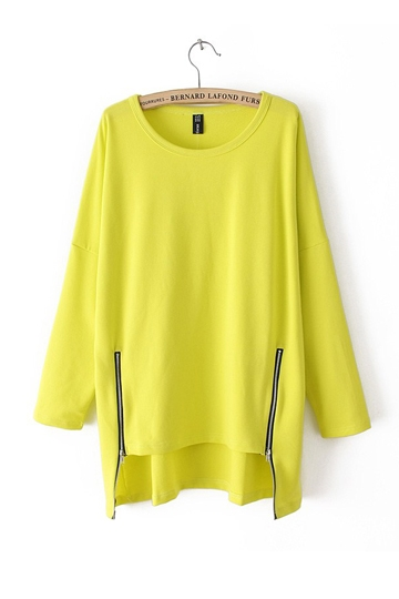 Side Zipper Contracted Leisure Pullover [FOBK0074]- US$29.99 - PersunMall.com