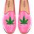 Prince Albert Bubblegum Pink Velvet Slipper Loafers With Cannabis Leaf by Del Toro - Moda Operandi