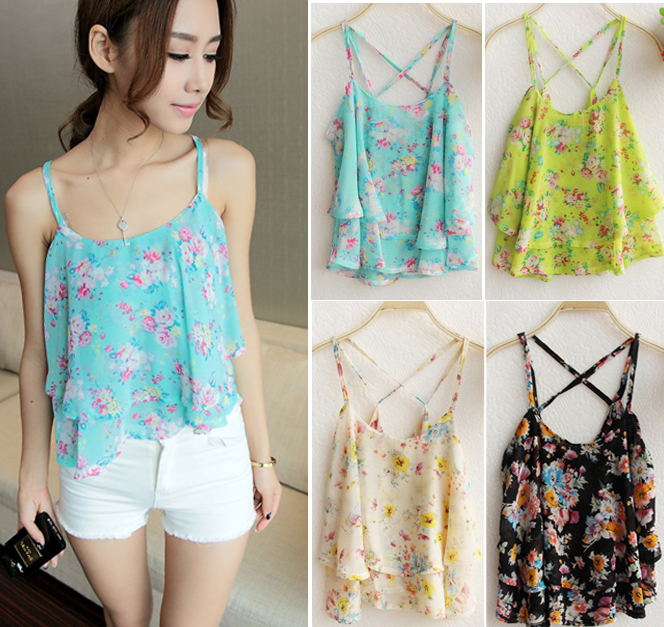 Aliexpress.com : Buy 2014 summer women's fashion loose  flower print chiffon tanks plus size camis spaghetti strap top 4color Free Shipping HHY8253 from Reliable shipping news film location suppliers on Outlets (Retail&Wholesale).