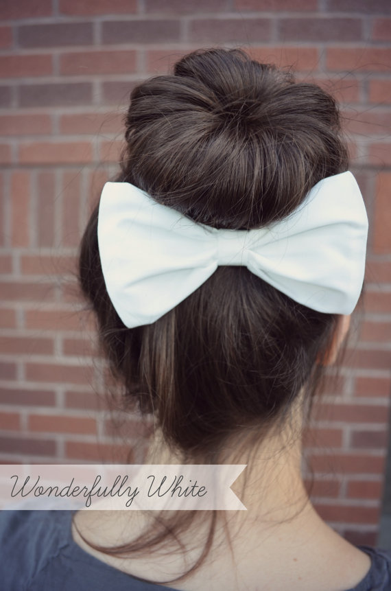 White Hair Bow by myjustpeachyshop on Etsy