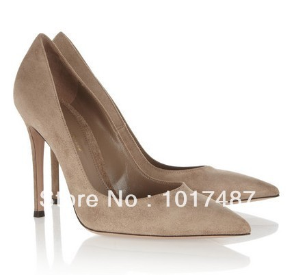 Free shipping Gianvito Rossi 2014 brown suede pointed high heels-in Pumps from Shoes on Aliexpress.com