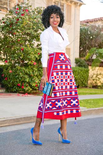 blogger shirt skirt bag shoes midi skirt white shirt clutch high heel pumps pumps