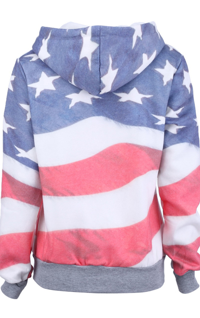 Grey America Flag Print Hooded Zip Up Sweatshirt - Sheinside.com