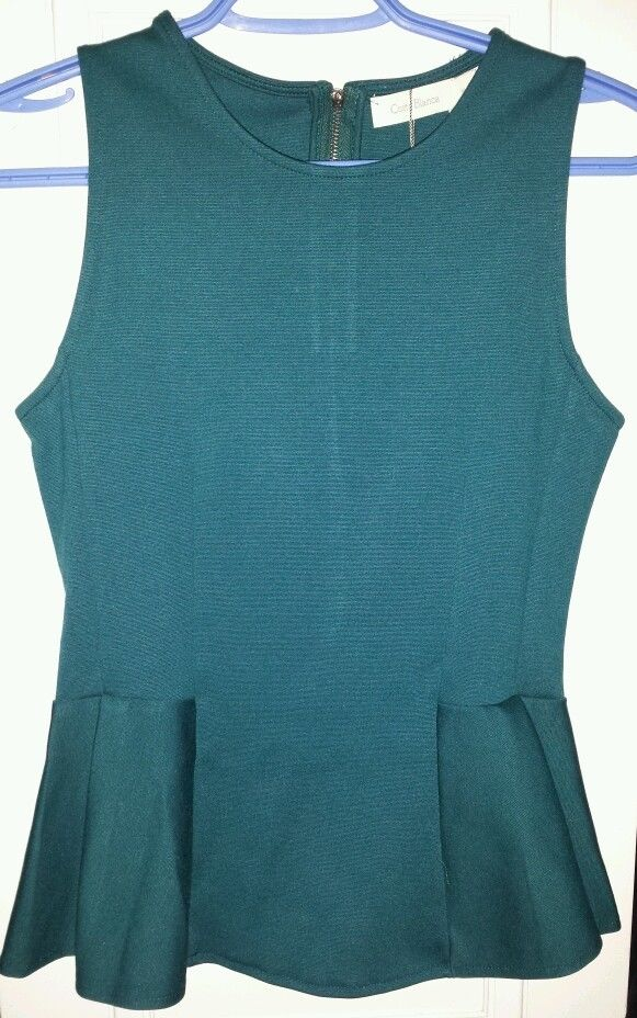 Costa Blanca Hunter Green Teal Peplum Top Size Medium | eBay
