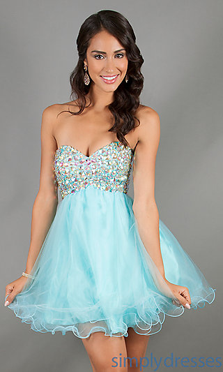 Strapless Party Dress, Alyce Short Prom Dresses - Simply Dresses