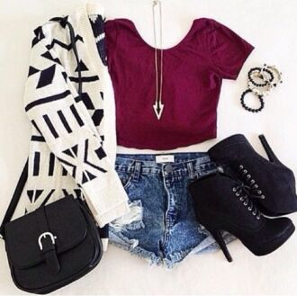 shoes sweater shirt denim shorts summer outfits jewels belt bag burgundy burgundy top black boots white sweater aztec sweater black bag blue white red outfit cardigan crop tops accessories shorts t-shirt tribal pattern tribal cardigan heels jeans boots satchel bag red tights skirt coat black and white top black white