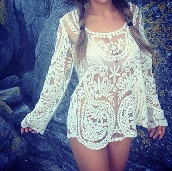 blouse long sleeves long sleeve blouse see through see through blouse cream top