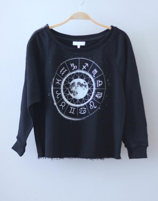 sweater zodiac shirt black moon
