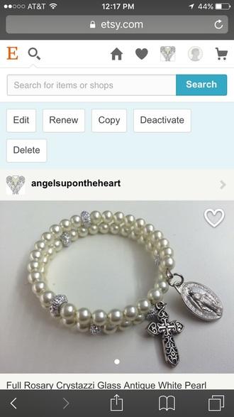 jewels religion cross pearl white classic classy classy girls wear pearls bracelets jewelry assessories catholic