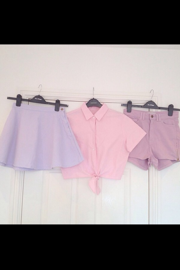 blouse skirt crop tops shorts High waisted shorts pastel