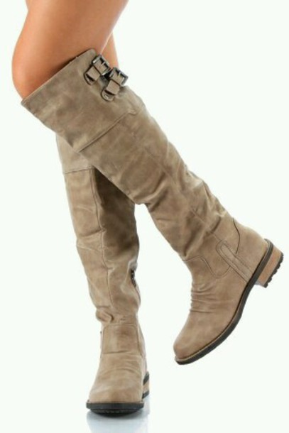 shoes knee high boots buckle boots