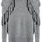 Grey long sleeve removable turtleneck tassel sweater - sheinside.com