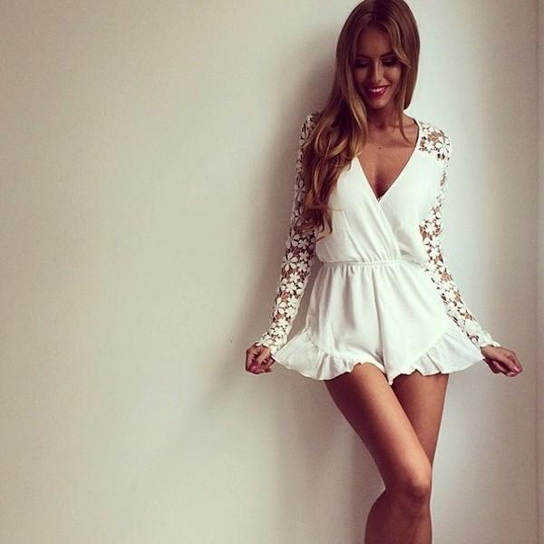 dress cute white summer jumpsuit cool pretty pretty outfit outfit summer outfits cool kids don't dance lace cream