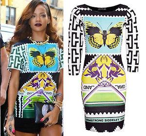 Ladies Rihanna Celeb Inspired Women MIDI Bodycon Tunic Butterfly Print Dress Top | eBay