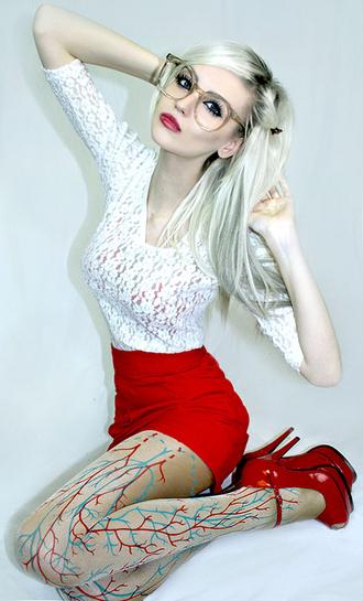 pants kiki kannibal red skirt lace shirt veins tights red heels eyeglasses blouse