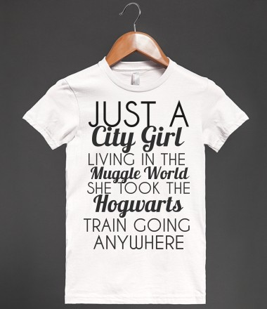 JUST A CITY GIRL LIVING IN THE MUGGLE WORLD - glamfoxx.com - Skreened T-shirts, Organic Shirts, Hoodies, Kids Tees, Baby One-Pieces and Tote Bags Custom T-Shirts, Organic Shirts, Hoodies, Novelty Gifts, Kids Apparel, Baby One-Pieces | Skreened - Ethical Custom Apparel