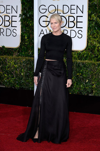 dress robin wright black red carpet Golden Globes 2015