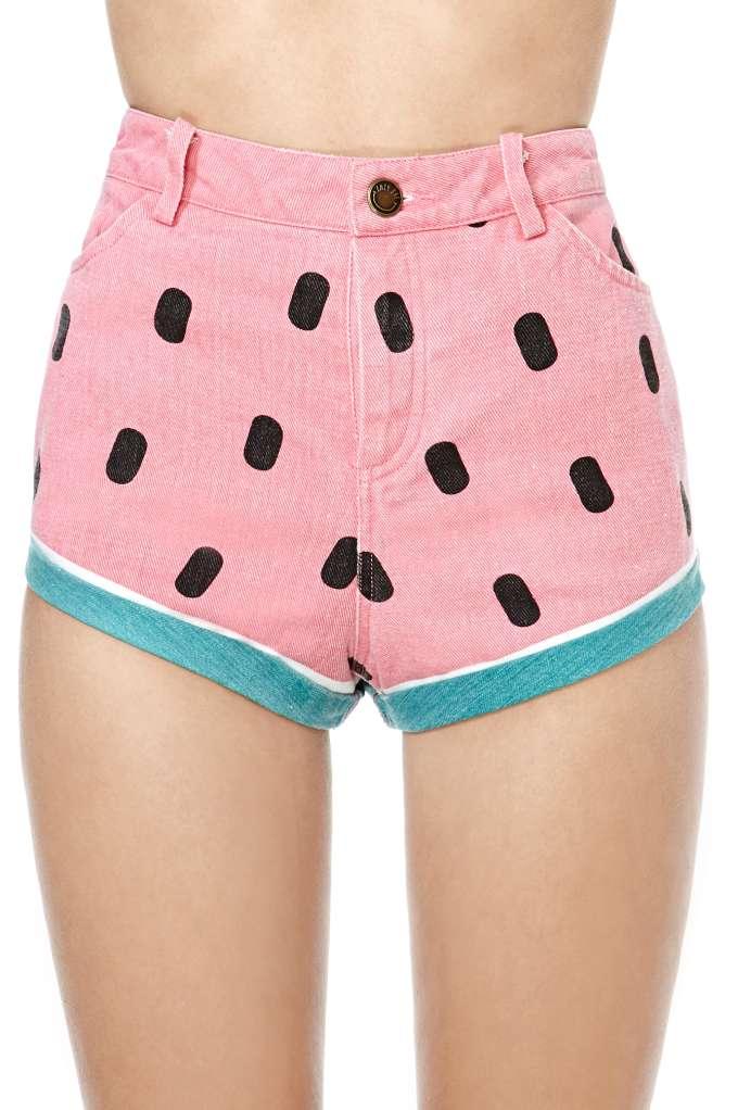 Lazy Oaf Watermelon Denim Shorts at Nasty Gal