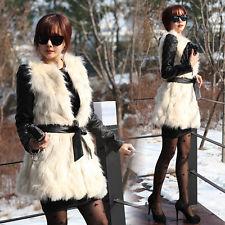 Women Winter Fashion White Warm Faux Fur Long Vest Jacket Coat Waistcoat Belted | eBay
