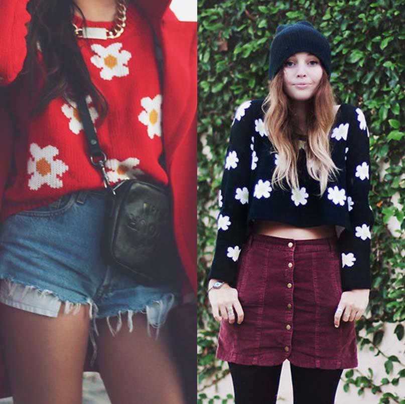 Cute little daisy short sweater / wantde